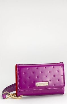 Love the color and indented polka dots <3  kate spade new york embossed dots iphone 4 & 4S wristlet | Nordstrom