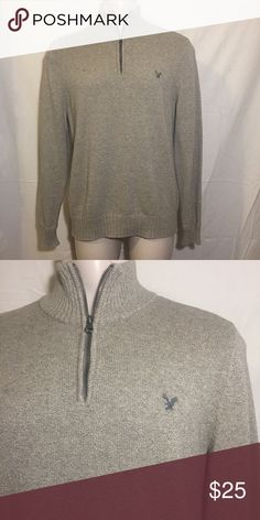 Quarter Zip Knitted Sweater Tan quarter zip knitted sweater from American Eagle Outfitters - Worn 1-2 times (like new) American Eagle Outfitters Sweaters Zip Up
