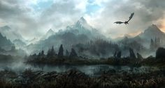 Aerial, or atmospheric, perspective describes the use of color or value (dark and light) to show depth. This is shown with the mountains, the  further away the seem to be the more the color becomes lighter as to seem they are disappearing into the atmosphere. The graphics in the game is what made this an amazing game to play. Land of Skyrim Jonas DeRo