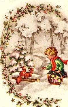 Vintage postcards New Year and Christmas Vintage Christmas Images, Old Fashioned Christmas, Christmas Scenes, Christmas Past, Retro Christmas, Vintage Holiday, Christmas Pictures, Christmas Greetings, Christmas Crafts