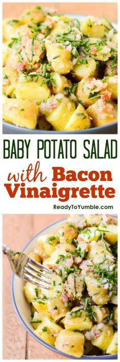 Baby potato salad with bacon vinaigrette - Sweet baby potatoes, savory bacon, and a hit of fresh lemon make a perfect side dish for almost any occasion.