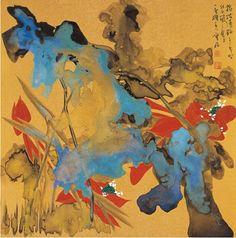 CAO JUN (1966~ )COLORFUL LOTUS Ink and color on golden-painted paper, mounted Dated 2012 66.5×66.5cm 曹 俊(1966~ ) 指撥清輕 泥金設色紙本 鏡片 2012年作 款識:指撥清輕。二零一二年時紐西蘭之夏月,一畫樓主人曹俊。 鈐印:曹俊(朱)