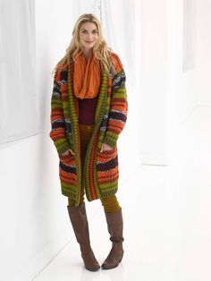 Striped Boyfriend Cardigan in Lion Brand Wool-Ease Thick & Quick - L32253. Discover more Patterns by Lion Brand at LoveKnitting. The world's largest range of knitting supplies - we stock patterns, yarn, needles and books from all of your favorite brands.