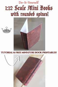 Diy Doll Miniatures, Medieval Books, Book Spine, Diy Mini Books, Book Binding, Miniture Things, Book Making, Antique Books, Vintage Paper