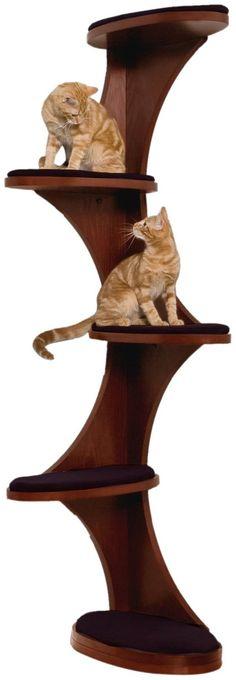 The Refined Feline Catemporary Cat Corner - Mahogany - Free Shipping