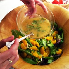 Mandarin Orange Salad with Citrus Basil Vinagrette... I added more mandarin orange juice to make it a little sweeter and I also added some spinach. Super tasty!
