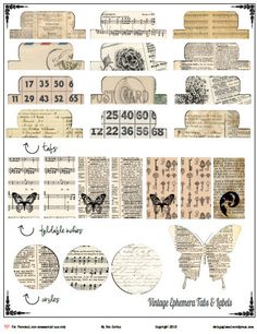 Free Printable Vintage Ephemera Tabs and Elements from Vintage Glam Studio