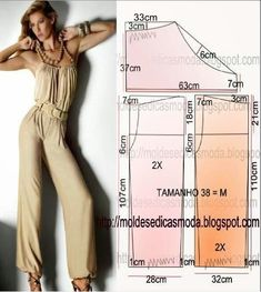 Portuguese site with illustration showing how to create the pattern for this easy jumpsuit.