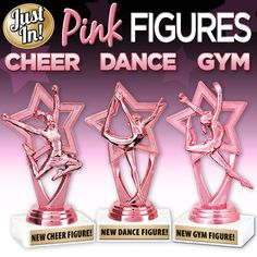 Leave Them Seeing Pink With Crown's Pink Figures. Now Available for #CheerleadingTrophies #DanceTrophies #GymnasticsTrophies! #PinkAwards #PinkStars #PinkTrophies #Pink  https://www.crownawards.com/StoreFront/TR1300.ALL.Trophies.Trophy_On_White_Marble.prod