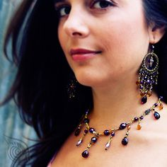 necklace and earrings Princess of the Orient; by Nady; photo by monika Hulova Metal Beads, Czech Glass Beads, Pewter, Brass, Earrings, Model, Jewelry, Tin, Ear Rings