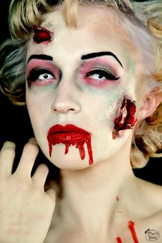 Zombie Marilyn Halloween Make up idea, courtesy of http://talesfrombettybeetowers.blogspot.co.uk/  #Vamp #Vampire #Gore #Photo #Shoot #Gothic