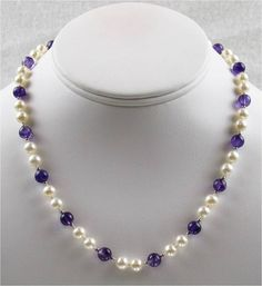 Items similar to 17 inch AAA 6 to Freshwater Pearl, Amethyst & Gold Necklace on Etsy Diy Jewelry Necklace, Jewelry Knots, Bead Jewellery, Gemstone Necklace, Necklace Designs, Jewelry Crafts, Beaded Jewelry, Jewelery, Fine Jewelry