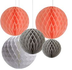 AllHeartDesires Pack of 6 Mixed Peach Gray White Decorative Paper Flower Honeycomb Ball Birthday Outdoor Wedding Party Hanging Decoration >>> Details can be found by clicking on the image.Note:It is affiliate link to Amazon.