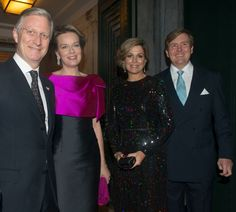 King Philippe and Queen Mathilde of Belgium and King Willem-Alexander and Queen Maxima attended the opening concert for the Dutch presidency of the European Union council at the Bozar on January 22, 2016 in Brussels