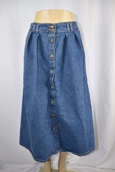 Hunt Club Womens 12P Petite Dark Wash Pleated Long Blue Jean Denim Skirt Button #HuntClub #ALine