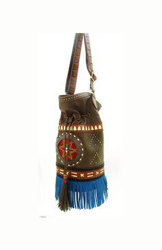Soulindha KatuKa Tassle Fringed Bucket Bag - Cross over body Leather bag - Boho, Tribal inspired, Navajo, Gypsy, Yoga
