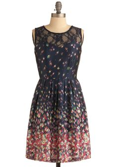 Blurring By Dress in Midnight - Blue, Multi, Green, Blue, Purple, Pink, White, Floral, Exposed zipper, Lace, Pleats, Casual, A-line, Sleeveless, Spring, Summer, Show On Featured Sale, Mid-length