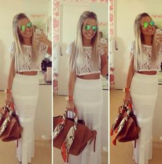 All-white outfit with brown scarf-adorned bag. Cropped lace top is cute too