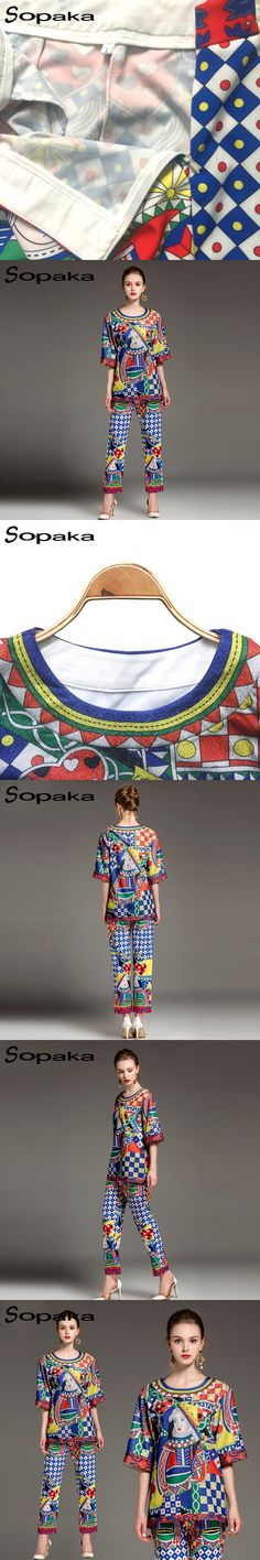 2018 Spring Blue Pattern Floral Print Colorful Three Quarter Sleeve O Neck Top T Shirt Set + Women Pants Two Piece Set