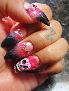 Pointed Acrylic Nails Sugar skull Glits