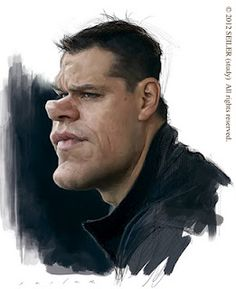 Matt Damon study by Jason Seiler