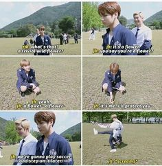 Jiminie, supposedly the nicest member, shows what he thinks of Hobi the flower