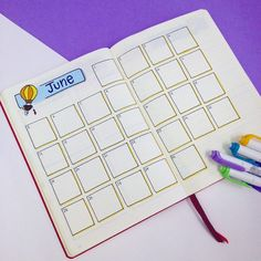 Decided to go back to this monthly view for June. I like how simple and yet how functional it is. I've added my goals and to-dos for the month in another page. You can see all my June set up on the blog Link in bio