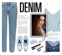 """All Denim, Head to Toe"" by blacksky000 ❤ liked on Polyvore featuring Acne Studios, River Island, STELLA McCARTNEY, Toni&Guy, Joshua's, Vapour, Forever 21 and Lancôme"