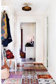 These bohemian tiles work together so perfectly. I love tiles! House Design, Interior, Tiles, Patchwork Tiles, Beautiful Tile Floor, Beautiful Tile, Home Decor, House Interior, Flooring