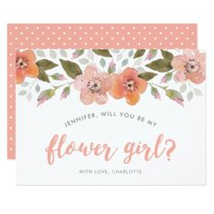 Peach Delicate Floral Will You Be My Flower Girl Card - summer wedding diy marriage customize personalize couple idea individuel