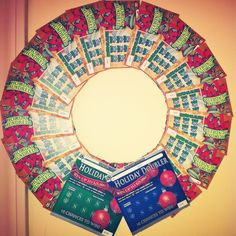 Lottery scratch off Christmas wreath for Dirty Santa gift exchange.