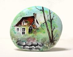 Painted stone, sasso dipinto a mano. The House in the Woods