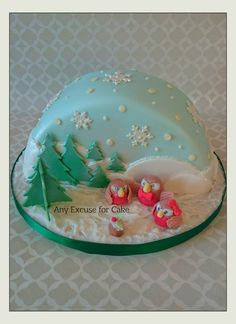 snow globe - cake by Any Excuse for Cake Half Christmas, Christmas Globes, Christmas Baking, Christmas Glitter, Snow Globes, Christmas Ideas, Christmas Cake Designs, Christmas Cake Decorations, Holiday Cakes
