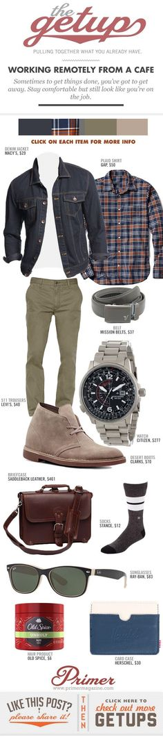 The Getup: Working Remotely from a Cafe - Ok, this is a great casual outfit (whether working remotely or not)! Fashion Mode, Look Fashion, Autumn Fashion, Mens Fashion, Mode Masculine, Sharp Dressed Man, Well Dressed Men, Casual Wear, Casual Outfits