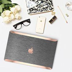 Platinum Edition Brushed Steel with Rose Gold/Copper Edge Detailing Hybrid Hard Case for Apple Macbook Air Mac Pro 13 Retina, Macbook 12