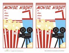free printable Movie Night Invitations 2