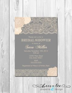 Floral Lace Bridal Shower Invitation - Neutrals - Grey and Cream - DIY - Printable on Etsy, $13.00