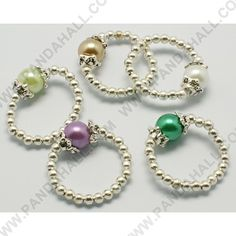 Wholesale Fashion Glass Pearl Stretch Ring, With Iron Beads, Mixed Color, Rings: About 20mm Inner Diameter, Glass Pearl Beads: 8mm, Spacer Beads: 3mm