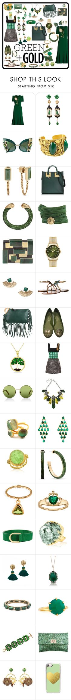 """""""Green and gold choices"""" by tori-holbrook-th ❤ liked on Polyvore featuring Dolce&Gabbana, Of Rare Origin, House of Lavande, Michael Kors, Sophie Hulme, Catherine Michiels, Rafe, Henry London, Kate Spade and Valentino"""