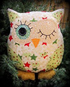 Festive owl cushion, 23cm tall.