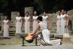 Greece - Flame lighting for the journey to the Olympics.