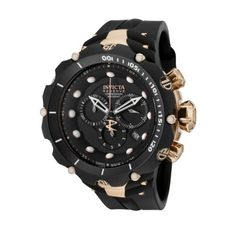 Men's Wrist Watches - Invicta Mens 1524 Venom Reserve Chronograph Black Dial Black Polyurethane Watch *** To view further for this item, visit the image link.