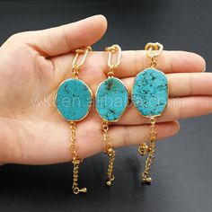 WT-B266  New fashion Natural Turquoise Chain BraceletHot