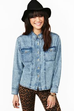 Acid High Denim Shirt. Denim is heavy material usually used in pants. Because its heavy it hides and makes your body look better.