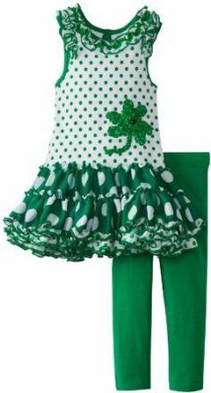 Rare Editions Girls 2-6X St Pats Tutu Legging Set #Kids #Fashion