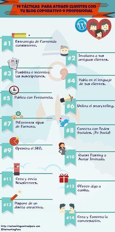 14 tácticas para atraer clientes con tu Blog Corporativo #infografia #infographic #marketing