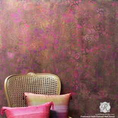 Colorful Metallic Home Decor Trend using Wallpaper Wall Stencils - DIY Ideas and Video Tutorials Included!