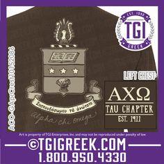 TGI Greek - Alpha Chi Omega - Crests - Comfort Colors - Greek T-shirts #tgigreek #alphachiomega #crests