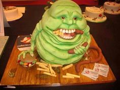 Can't forget a Slimer cake from Ghostbusters! Unique Cakes, Creative Cakes, Fondant Cakes, Cupcake Cakes, Shoe Cakes, Cupcake Art, 3d Cakes, Cupcake Ideas, Ghostbusters Cake