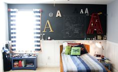Boys Bedroom Theme Ideas for Your Kids: Engaging Boys Bedroom With Alphabet On Black Board Decoration Room Picture Ideas For Home Interior Feats White Blue Stripped Bedspread Nad Cuishons Inspiration ~ enokae.com Bedroom Inspiration